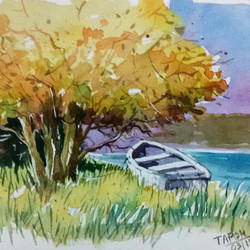 lonely boat, 11 x 8 inch, tapon roy,paintings,nature paintings,paintings for dining room,paintings for living room,paintings for bedroom,paintings for office,paintings for hotel,handmade paper,watercolor,11x8inch,GAL0528312522Nature,environment,Beauty,scenery,greenery