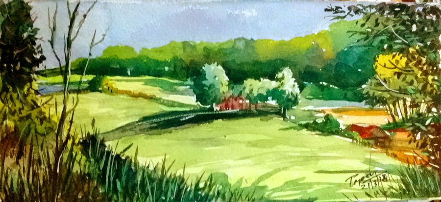 greenfield, 11 x 5 inch, tapon roy,paintings,nature paintings,paintings for dining room,paintings for bedroom,handmade paper,watercolor,11x5inch,GAL0528312524Nature,environment,Beauty,scenery,greenery