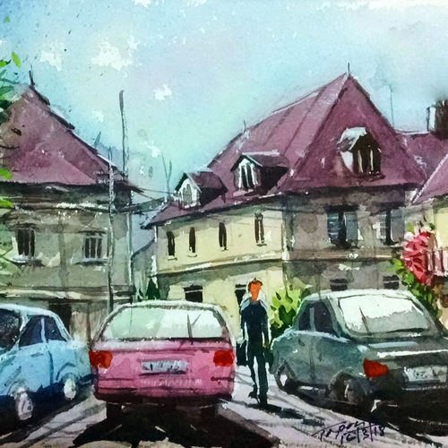 parking lot, 11 x 8 inch, tapon roy,paintings for dining room,paintings for living room,paintings for bedroom,paintings for office,cityscape paintings,handmade paper,watercolor,11x8inch,GAL0528312525