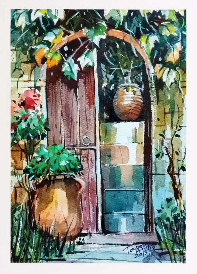 wooden door , 8 x 11 inch, tapon roy,paintings,nature paintings,paintings for dining room,paintings for living room,paintings for bedroom,paintings for office,paintings for hotel,handmade paper,watercolor,8x11inch,GAL0528312527Nature,environment,Beauty,scenery,greenery