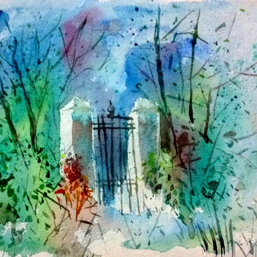 abandoned gate, 11 x 8 inch, tapon roy,paintings,nature paintings,paintings for dining room,paintings for living room,paintings for bedroom,paintings for office,paintings for hotel,paintings for dining room,paintings for living room,paintings for bedroom,paintings for office,paintings for hotel,handmade paper,watercolor,11x8inch,GAL0528312528Nature,environment,Beauty,scenery,greenery