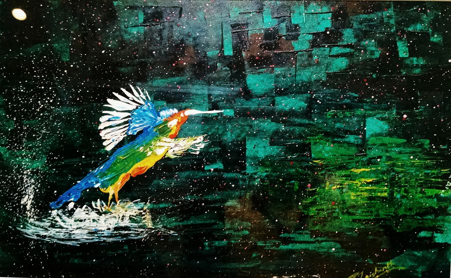 kingfisher, 17 x 11 inch, trishanth naidu,paintings for dining room,wildlife paintings,thick paper,acrylic color,17x11inch,GAL05111253