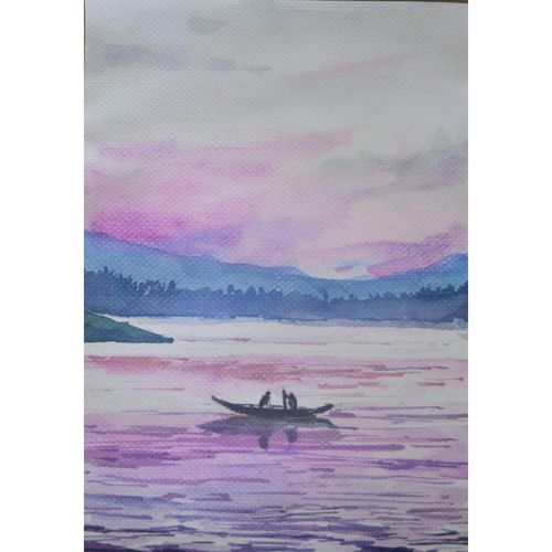 beauty of pink water , 8 x 12 inch, anuvind vinod,landscape paintings,nature paintings,paintings for dining room,paintings for living room,paintings for bedroom,paintings for hotel,brustro watercolor paper,watercolor,8x12inch,GAL0528112536Nature,environment,Beauty,scenery,greenery
