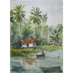 beauty of kerala , 8 x 12 inch, anuvind vinod,landscape paintings,still life paintings,nature paintings,paintings for dining room,paintings for living room,paintings for bedroom,paintings for office,paintings for kids room,paintings for hotel,brustro watercolor paper,watercolor,8x12inch,GAL0528112537Nature,environment,Beauty,scenery,greenery