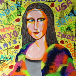 monalisa !! pop art !!, 33 x 30 inch, amita dand,paintings,figurative paintings,pop art paintings,paintings for living room,paintings for hotel,canvas,acrylic color,33x30inch,GAL0146712543
