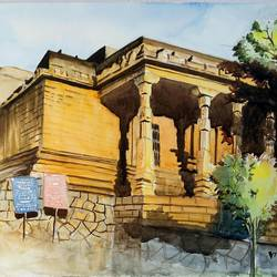 rock jain temple, 15 x 11 inch, vivek anand,paintings,landscape paintings,canson paper,watercolor,15x11inch,GAL0366012545