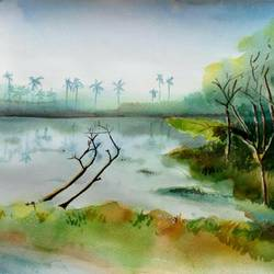 morning view, 13 x 9 inch, vivek anand,paintings,landscape paintings,canson paper,watercolor,13x9inch,GAL0366012546