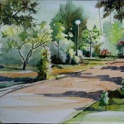 cubbon park, bangalore, 14 x 11 inch, vivek anand,paintings,landscape paintings,canson paper,watercolor,14x11inch,GAL0366012547
