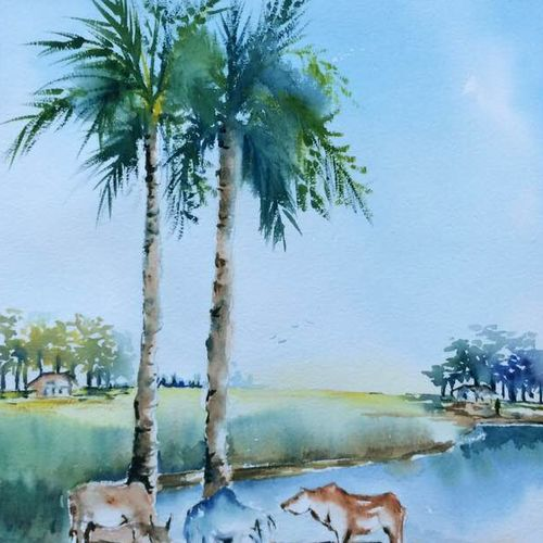 where the sky meets the horizon, 15 x 22 inch, dipankar  biswas,paintings,landscape paintings,paintings for bedroom,handmade paper,watercolor,15x22inch,GAL0293212566