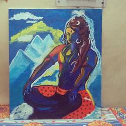 mahadev acrylic, 120 x 80 inch, ankita kumari,paintings,religious paintings,paintings for living room,canvas,acrylic color,120x80inch,GAL0501412567