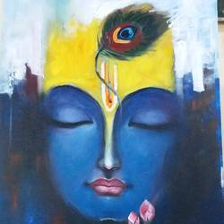 krishna, 30 x 20 inch, sonika ss,abstract paintings,modern art paintings,conceptual paintings,religious paintings,portrait paintings,art deco paintings,expressionist paintings,radha krishna paintings,paintings for living room,paintings for hotel,paintings for living room,paintings for hotel,paintings,love paintings,canvas,acrylic color,30x20inch,GAL0531412569,krishna,lord,love,peace,lordkrishna