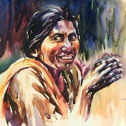 a rural lady, 20 x 14 inch, bijendra  pratap ,figurative paintings,paintings for dining room,renaissance watercolor paper,watercolor,20x14inch,GAL04531257