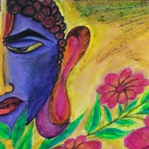 buddha's feeling, 16 x 11 inch, harish jaipal mali,drawings,abstract drawings,abstract expressionist drawings,modern drawings,buddha drawings,paintings for living room,paintings for bedroom,paintings for hotel,drawing paper,pastel color,16x11inch,GAL0522612580