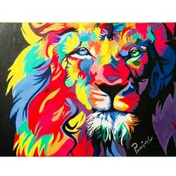 lion, 16 x 18 inch, pranjali chaturvedi,paintings,wildlife paintings,paintings for living room,paintings for living room,canvas,acrylic color,16x18inch,GAL0190412584