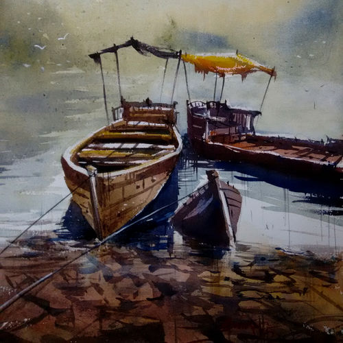 nainital boats, 21 x 14 inch, sankar thakur,nature paintings,paintings for living room,fabriano sheet,watercolor,21x14inch,GAL07126Nature,environment,Beauty,scenery,greenery