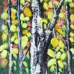yellow birch forest, 8 x 30 inch, solina kumar,paintings,landscape paintings,modern art paintings,nature paintings,art deco paintings,contemporary paintings,paintings for office,paintings for hotel,canvas,acrylic color,8x30inch,GAL0465112606Nature,environment,Beauty,scenery,greenery,trees,leaves,colorful