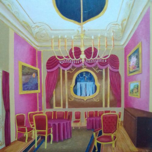 palace interior, 26 x 26 inch, rana roy,paintings,illustration paintings,paintings for living room,paintings for office,paintings for living room,paintings for office,canvas,acrylic color,26x26inch,GAL0380412612