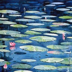 lotus pond, 21 x 15 inch, raji p,flower paintings,landscape paintings,still life paintings,realistic paintings,paintings for dining room,paintings for living room,paintings for bedroom,paintings for office,paintings for hotel,water fountain paintings,canson paper,watercolor,21x15inch,GAL059012615