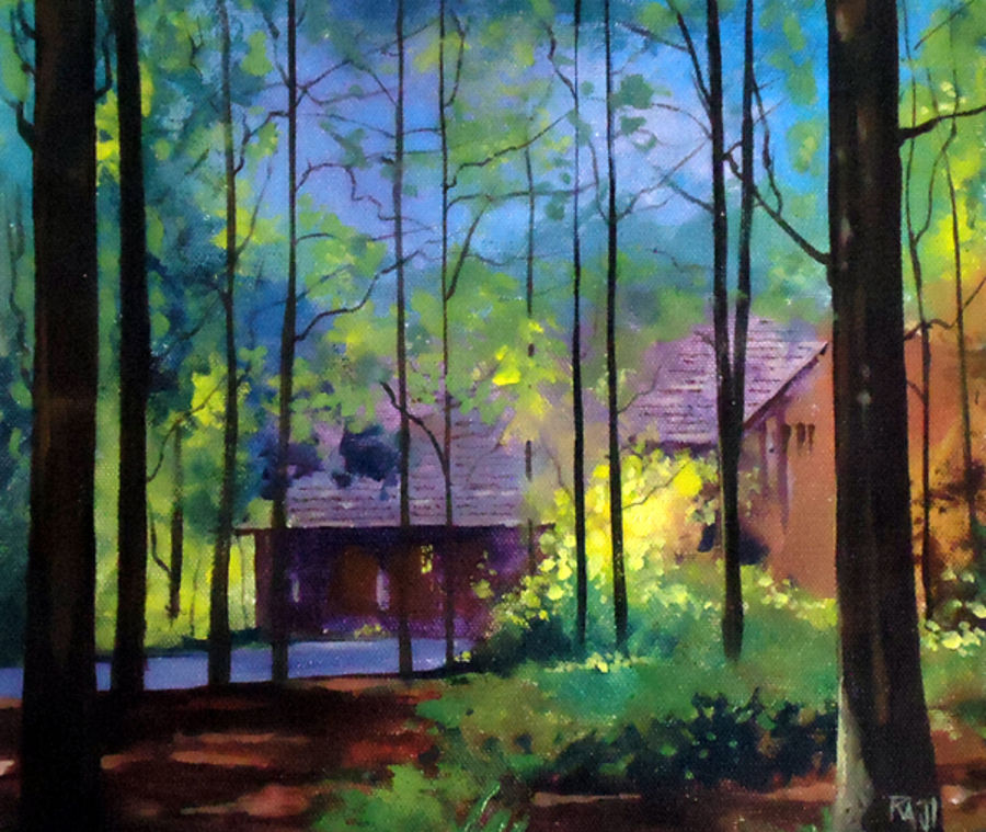 morning beauty, 12 x 11 inch, raji p,paintings,landscape paintings,nature paintings,paintings for dining room,paintings for living room,paintings for bedroom,paintings for office,paintings for hotel,canvas board,acrylic color,12x11inch,GAL059012616Nature,environment,Beauty,scenery,greenery,beautiful,sun,trees,water,mountain,sunrise,house,