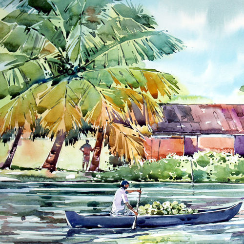 life on boat , 21 x 15 inch, raji p,figurative paintings,landscape paintings,nature paintings,realistic paintings,paintings for dining room,paintings for living room,paintings for office,paintings for hotel,canson paper,watercolor,21x15inch,GAL059012617Nature,environment,Beauty,scenery,greenery