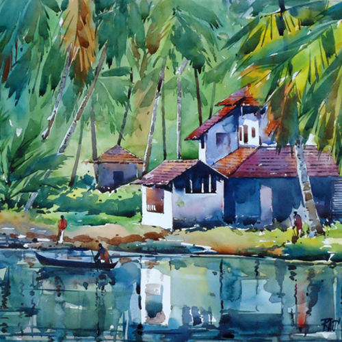 riflections, 21 x 15 inch, raji p,paintings,landscape paintings,still life paintings,nature paintings,paintings for dining room,paintings for living room,paintings for bedroom,paintings for office,paintings for hotel,canson paper,watercolor,21x15inch,GAL059012618Nature,environment,Beauty,scenery,greenery