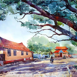 kerala temple, 21 x 15 inch, raji p,paintings,landscape paintings,conceptual paintings,nature paintings,street art,realistic paintings,paintings for dining room,paintings for living room,paintings for bedroom,paintings for office,paintings for hotel,canson paper,watercolor,21x15inch,GAL059012620Nature,environment,Beauty,scenery,greenery