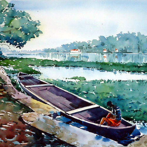boy on a boat , 21 x 15 inch, raji p,figurative paintings,landscape paintings,nature paintings,realistic paintings,paintings for dining room,paintings for living room,paintings for office,paintings for hotel,canson paper,watercolor,21x15inch,GAL059012621Nature,environment,Beauty,scenery,greenery