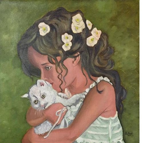 cute little girl, 20 x 24 inch, subhash gijare,paintings,figurative paintings,paintings for dining room,paintings for living room,paintings for office,paintings for kids room,paintings for hotel,canvas,oil,20x24inch,GAL013812623