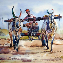 bullock cart , 21 x 15 inch, raji p,paintings,figurative paintings,landscape paintings,nature paintings,paintings for dining room,paintings for living room,paintings for office,paintings for hotel,canson paper,watercolor,21x15inch,farmer,bull,bullock cart,village,GAL059012625Nature,environment,Beauty,scenery,greenery