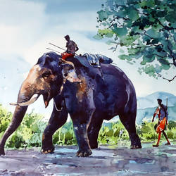 big elephant , 21 x 15 inch, raji p,landscape paintings,nature paintings,animal paintings,realistic paintings,elephant paintings,paintings for dining room,paintings for living room,paintings for office,paintings for kids room,paintings for hotel,paintings,wildlife paintings,paintings for bedroom,paintings for school,paintings for hospital,canson paper,watercolor,21x15inch,GAL059012629Nature,environment,Beauty,scenery,greenery