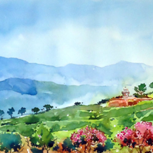 morning  beauty of hills, 30 x 11 inch, raji p,landscape paintings,nature paintings,paintings for dining room,paintings for living room,paintings for bedroom,paintings for office,paintings for hotel,paintings for dining room,paintings for living room,paintings for bedroom,paintings for office,paintings for hotel,canson paper,watercolor,30x11inch,GAL059012630Nature,environment,Beauty,scenery,greenery