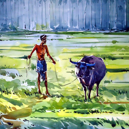 buffalo's life, 21 x 15 inch, raji p,paintings,figurative paintings,landscape paintings,nature paintings,animal paintings,paintings for dining room,paintings for living room,paintings for office,paintings for kids room,paintings for hotel,canson paper,watercolor,21x15inch,GAL059012631Nature,environment,Beauty,scenery,greenery,buffalo,grass,sunrise,man,life