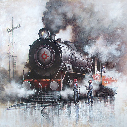 nostalgia of steam locomotives 31, 58 x 37 inch, kishore pratim biswas,paintings,landscape paintings,impressionist paintings,paintings for dining room,paintings for living room,paintings for office,paintings for hotel,canvas,acrylic color,58x37inch,GAL0106012635