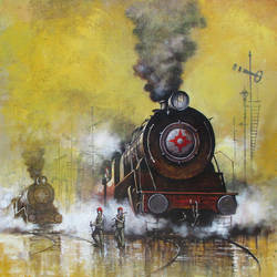 nostalgia of steam locomotives 34, 38 x 44 inch, kishore pratim biswas,paintings,landscape paintings,impressionist paintings,contemporary paintings,paintings for dining room,paintings for living room,paintings for office,paintings for hotel,canvas,acrylic color,38x44inch,GAL0106012636