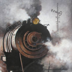 nostalgia of steam locomotives 22, 30 x 44 inch, kishore pratim biswas,paintings,landscape paintings,impressionist paintings,contemporary paintings,paintings for dining room,paintings for living room,paintings for office,paintings for hotel,paintings for dining room,paintings for living room,paintings for office,paintings for hotel,canvas,acrylic color,30x44inch,GAL0106012638