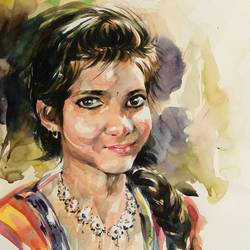 a preety girl, 16 x 24 inch, bijendra  pratap ,figurative paintings,paintings for living room,renaissance watercolor paper,watercolor,16x24inch,GAL04531264