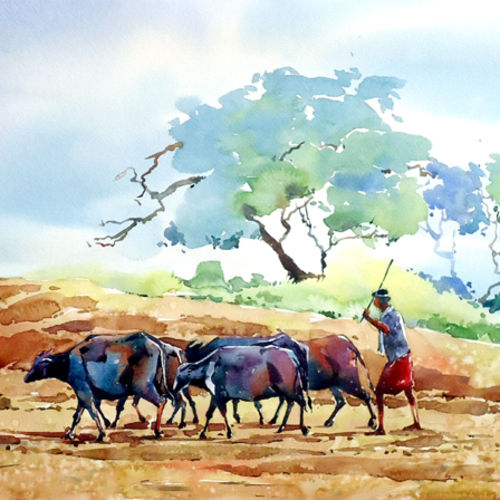way to field. , 21 x 15 inch, raji p,paintings,figurative paintings,landscape paintings,nature paintings,animal paintings,paintings for dining room,paintings for living room,paintings for office,paintings for kids room,paintings for hotel,canson paper,watercolor,21x15inch,GAL059012648Nature,environment,Beauty,scenery,greenery