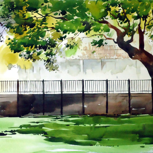 light and shade, 21 x 15 inch, raji p,paintings,flower paintings,cityscape paintings,landscape paintings,nature paintings,paintings for dining room,paintings for living room,paintings for bedroom,paintings for office,paintings for hotel,canson paper,watercolor,21x15inch,GAL059012650Nature,environment,Beauty,scenery,greenery