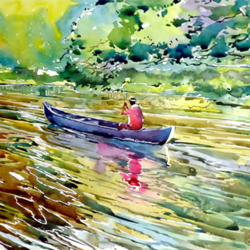 early bird, 21 x 15 inch, raji p,paintings,landscape paintings,nature paintings,expressionist paintings,impressionist paintings,paintings for dining room,paintings for living room,paintings for office,paintings for kids room,paintings for hotel,canson paper,watercolor,21x15inch,GAL059012653Nature,environment,Beauty,scenery,greenery,beautiful,sun,trees,water,mountain,river,leaves,boat,sailing,people