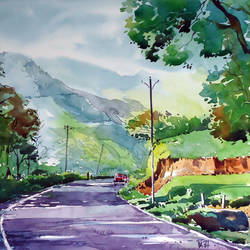 way to heaven, 21 x 15 inch, raji p,paintings,landscape paintings,nature paintings,realistic paintings,paintings for dining room,paintings for living room,paintings for bedroom,paintings for office,paintings for kids room,paintings for hotel,canson paper,watercolor,21x15inch,GAL059012656Nature,environment,Beauty,scenery,greenery