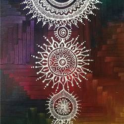 festive fusion, 12 x 17 inch, mudra naik,folk art paintings,paintings for living room,canvas,mixed media,12x17inch,GAL05151266