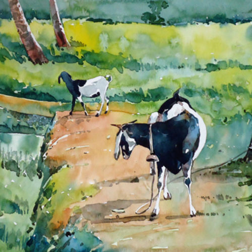 mother and child, 15 x 10 inch, raji p,paintings,landscape paintings,nature paintings,animal paintings,paintings for dining room,paintings for living room,paintings for bedroom,paintings for office,paintings for kids room,paintings for hotel,canson paper,watercolor,15x10inch,GAL059012664Nature,environment,Beauty,scenery,greenery
