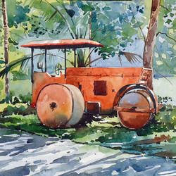roadroller, 15 x 10 inch, raji p,paintings,figurative paintings,cityscape paintings,landscape paintings,still life paintings,nature paintings,impressionist paintings,paintings for dining room,paintings for living room,paintings for office,paintings for kids room,paintings for hotel,canson paper,watercolor,15x10inch,GAL059012665Nature,environment,Beauty,scenery,greenery