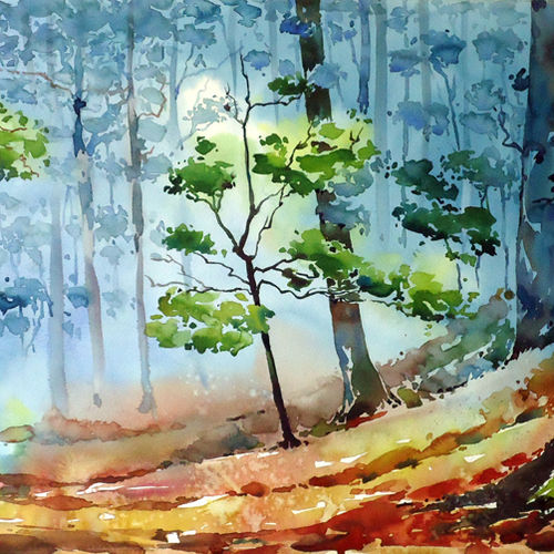 fresh morning , 21 x 15 inch, raji p,flower paintings,landscape paintings,nature paintings,impressionist paintings,paintings for dining room,paintings for living room,paintings for bedroom,paintings for office,paintings for kids room,paintings for hotel,canson paper,watercolor,21x15inch,GAL059012666Nature,environment,Beauty,scenery,greenery