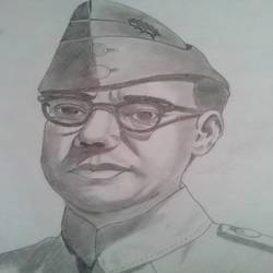 subhash chandra bose, 10 x 12 inch, ranjana langyan,drawings,portrait drawings,paintings for office,drawing paper,pencil color,10x12inch,GAL0296612673