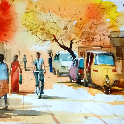 warm morning, 11 x 8 inch, tapon roy,paintings,cityscape paintings,landscape paintings,nature paintings,paintings for dining room,paintings for living room,paintings for bedroom,paintings for office,paintings for hotel,paintings for dining room,paintings for living room,paintings for bedroom,paintings for office,paintings for hotel,handmade paper,watercolor,11x8inch,GAL0528312676Nature,environment,Beauty,scenery,greenery