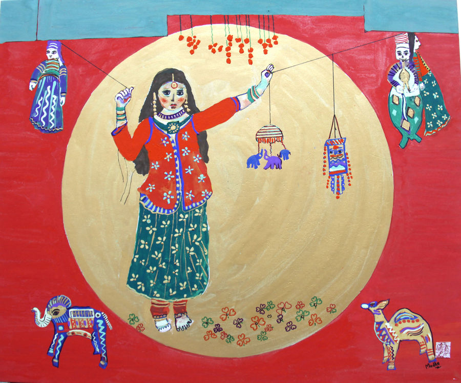 puppets and gypsy girl , 28 x 21 inch, madhu  jain,figurative paintings,paintings for living room,rice paper,stone color,28x21inch,GAL05161268