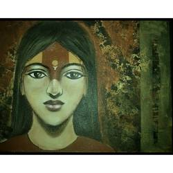 devi, 15 x 11 inch, pronati halder,paintings,abstract paintings,handmade paper,acrylic color,15x11inch,GAL0375712692