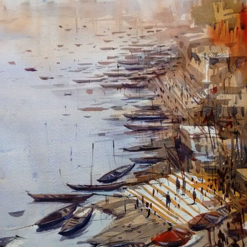 varanasi, 21 x 14 inch, sankar thakur,landscape paintings,paintings for living room,fabriano sheet,watercolor,21x14inch,GAL07127