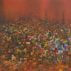 joy of city , 72 x 48 inch, m. singh,abstract paintings,canvas,acrylic color,72x48inch,GAL0537712703